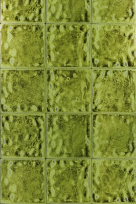 Close-up detail image of Designers Guild Aquarelle Wallpaper - Peridot green chartreuse square tiles repeated pattern