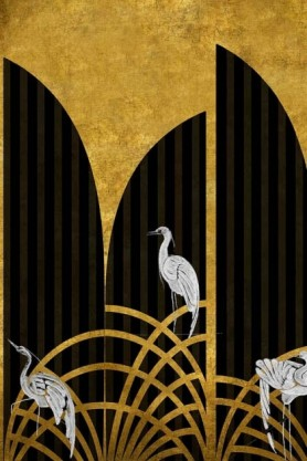Close-up detail image of the Art Deco Wallpaper Mural - Tassel Chai white storks on navy striped and mustard colored background