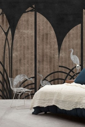 Lifestyle image of the Art Deco Wallpaper Mural - Tassel Coal with bed with cream bedding in corner and white wire chair on grey flooring