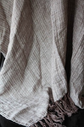 detail image of Ash Brown Linen Throw