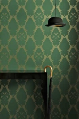 lifestyle image of Barneby Gates Wallpaper - Boxing Hares - Billiard Green with black console table and bowler hat ceiling light and black and gold cane