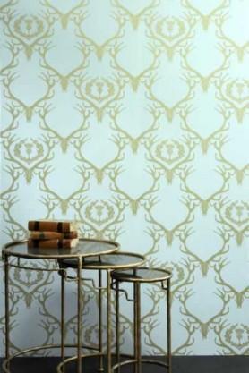 Barneby Gates Wallpaper - Deer Damask - Duck Egg Blue/Antique Gold