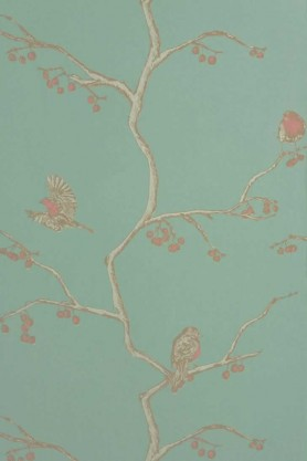 cutout Image of Barneby Gates English Robin Wallpaper - Jade nude and teal oriental patern