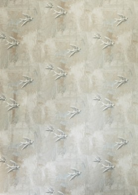 cutout Image of Barneby Gates Fresco Birds Wallpaper neutral coloured birds pattern