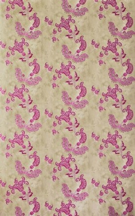 cutout Image of Barneby Gates Paisley Wallpaper - Hot Pink on Tea Stain oriental pattern