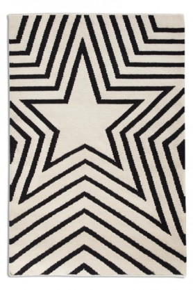Detail image of pattern on 100% Pure Wool Star Rug / Mat - Black 01 - 150cm x 230cm