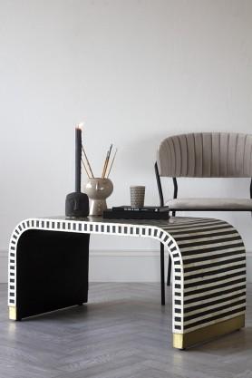 Lifestyle image of the Monochrome Stripe Bone Inlay Coffee Table