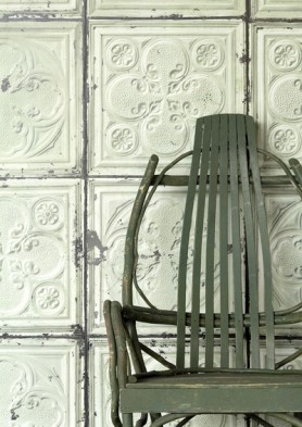 lifestyle Image of NLXL TIN-05 Brooklyn Tin Tiles Wallpaper By Merci with green wooden chair