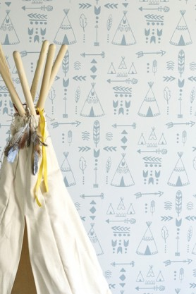 Hibou Home Teepees, A Tribal Gathering Children's Wallpaper - Storm Green/Grey