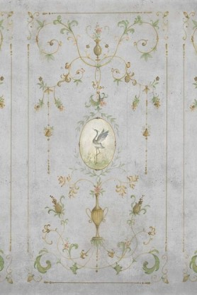 Close-up detail image of the Chinoiserie Panel Wallpaper Mural - Mirto Chai Seed green toned renaissance style pattern with bird in middle on grey background