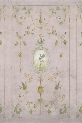 Close-up detail image of the Chinoiserie Panel Wallpaper Mural - Mirto Rose Pink green renaissance sty;e pattern with bird in middle on dusty pink background