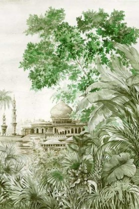 Close-up detail image of the Chinoiserie Wallpaper Mural - Taj Mahal Aloe green tropical plants and building in background with white background