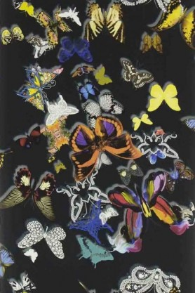 detail image of Christian Lacroix Butterfly Parade Wallpaper - 7 Colours Available coloured butterflies on black background repeated pattern