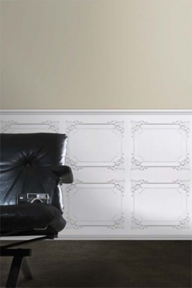 White panelling wallpaper in a classical Louis XV style