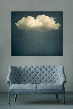 lifestyle image of Cloud Play I by JR Goodwin - Etching Paper or Canvas hung on grey wall above grey sofa