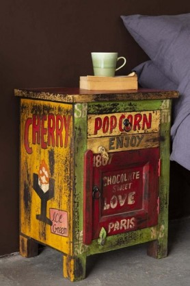 Colourful Shabby Chic Cafe Inspired Bedside Table