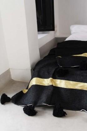 Cotton Pom Pom Blanket 200x300cm - Black With Gold Stripe