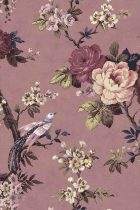 detail image of the Dawn Chorus Smokey Heather Wallpaper by Pearl Lowe purple and pink roses with pale green leaves on purple background