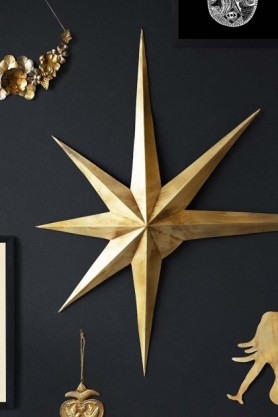 Distressed Gold Metal Star Wall Hanging