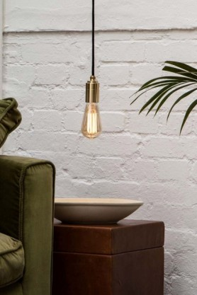 lifestyle image of E27 3W LED Dimmable Tinted Squirrel Cage Light Bulb hanging over green sofa and wooden side table with plant in corner and white brick wall background