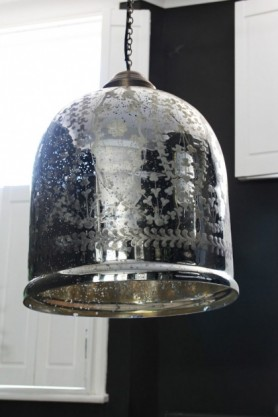 lifestyle image of Etched Glass Large Bell Pendant Ceiling Light with white windows and dark wall background