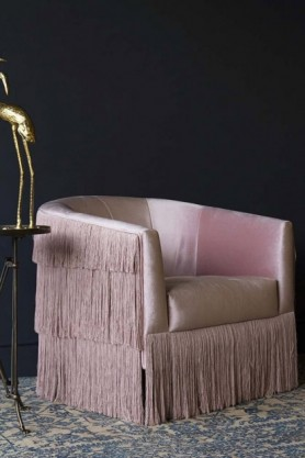 Fabulous Fringed Pink Velvet Armchair