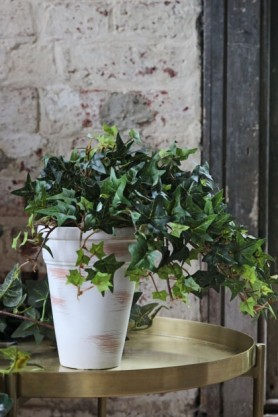 Lifestyle image of the Faux Ivy Plant In Tall White Pot on gold tray side table with pale distressed brick wall backgroundd