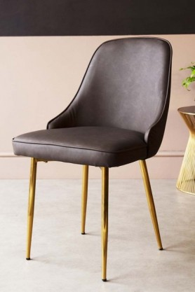 Faux Leather Dining Chair With Brass Legs - Brown