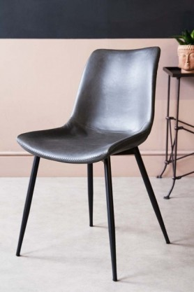 Image of the Faux Leather Dining Chair With Zig Zag Stitching in Charcoal Grey