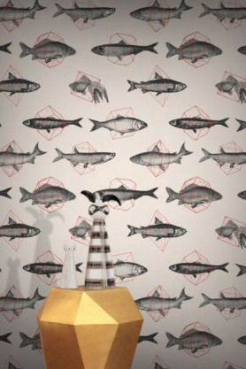 lifestyle image of Feathr Fishes In Geometrics Wallpaper - Sand & Red with gold side table and vases on top