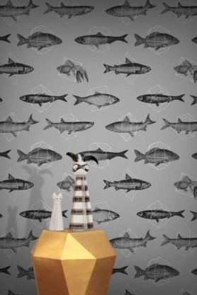 lifestyle image of Feathr Fishes In Geometrics Wallpaper - Silver with gold side table and vases on top