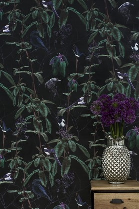 Witch & Watchman Folia Wallpaper - Dark
