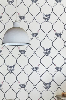 lifestyle Image of Barneby Gates Wallpaper - Fox & Hen - Charcoal & Parchment blue and white fox and hen pattern with round white ceiling light