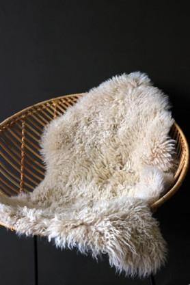 Genuine Sheepskin Rug - Curly Bone White