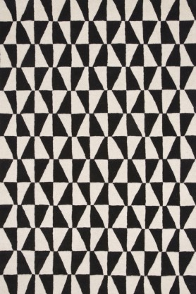 Geometric 100% Wool Rug - Black 01 - 2 Sizes Available