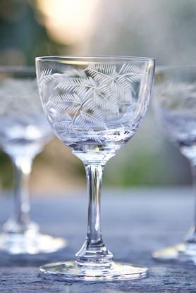 Set Of 6 Vintage Style Crystal Liqueur Glasses - Ferns
