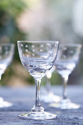 Set Of 6 Vintage Style Crystal Liqueur Glasses - Stars