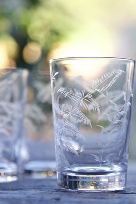 Set Of 6 Vintage Style Crystal Tumblers - Ferns