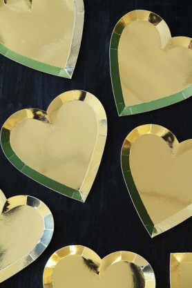Gold Heart Paper Plates