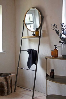 Lifestyle image of the Bathroom Mirror Ladder Storage Unit