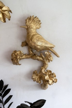 Lifestyle image of the Gold Crested Bird Wall Art Decoration