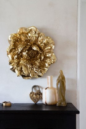 Lifestyle image of the Gold Peony Rose Wall Art Decoration