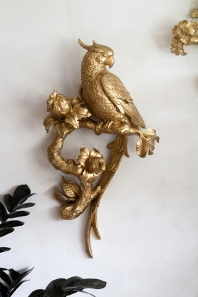 Image of the Gold Long Tailed Parrot Wall Art Decoration