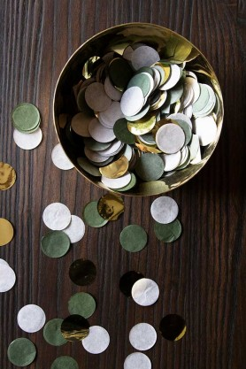 Lifestyle image of the Sage Green, Gold & Grey Party Table Confetti