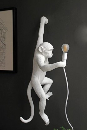 Left-Hand Hanging Monkey Wall Lamp - White