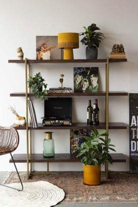 Lifestyle image of the Herringbone Style Dark Wood & Antique Brass 4-Shelf Unit