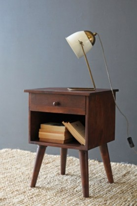 lifestyle image of Hudson Bedside Table with books inside and White & Brass Lola Desk Lamp on top