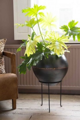 Lifestyle image of iron planter on its stand with brown leather chair and pale flooring with window in background