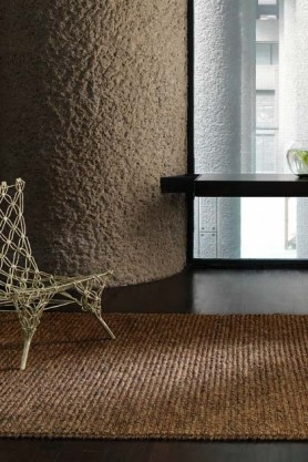lifestyle image of Jute Loop Rug - 2 Sizes Available - 2 Colours with metal chair and window in background