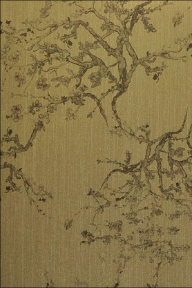 cutout Image of Kyoto Wallpaper - Gold 02 khaki oriental style trees on fold background